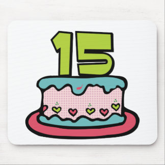 15 Year Old Birthday Cake Mouse Pad