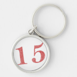 15 years anniversary Silver-Colored round keychain
