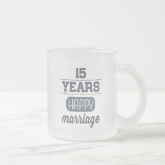 15 Years Happy Marriage Frosted Glass Coffee Mug