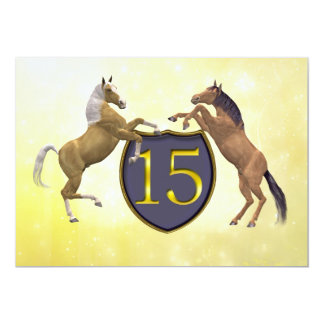 15 years old birthday party rearing horses card