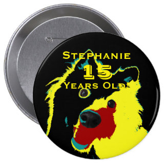 15 Years Old, Happy Yellow Dog Button Pin