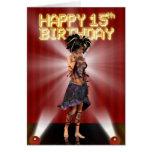 15h cumpleaños feliz, deva de la estrella en la tarjeta de felicitación