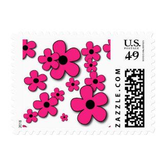 15hpf HOT PINK FLOWER PATTERN FUN TEMPLATES NEON B Postage