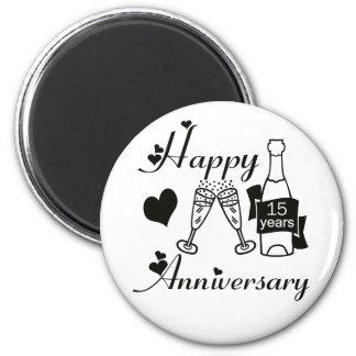 15th. Anniversary 2 Inch Round Magnet