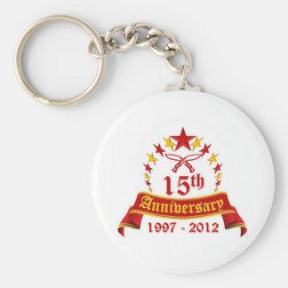 15th Anniversary Basic Round Button Keychain
