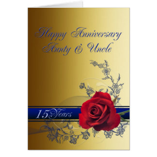 15th Anniversary card,Aunt & Uncle Card