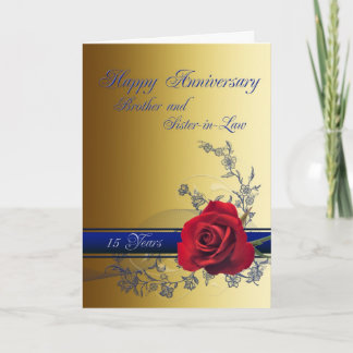 15th Anniversary card,Brother and Sister-in-law Card