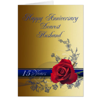 15th Anniversary card for husband with a red rose