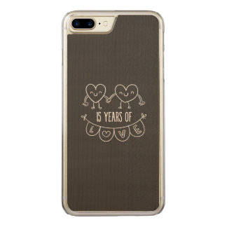 15th Anniversary Chalk Hearts Carved iPhone 8 Plus/7 Plus Case