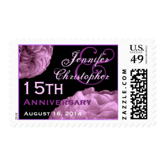 15th Anniversary Custom Stamp  LILAC PURPLE  Roses