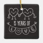 15th Anniversary Gift Chalk Hearts Ceramic Ornament