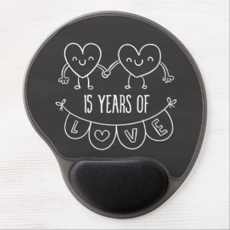 15th Anniversary Gift Chalk Hearts Gel Mouse Pad