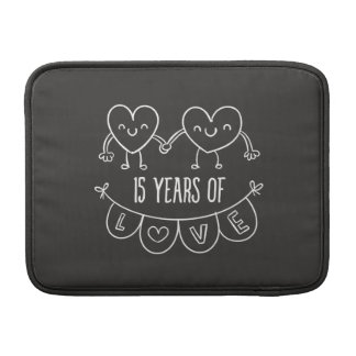 15th Anniversary Gift Chalk Hearts MacBook Sleeves