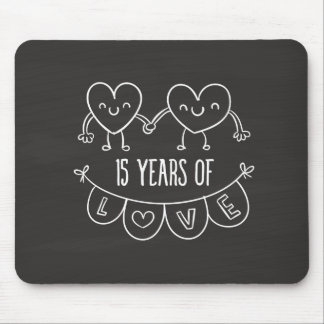 15th Anniversary Gift Chalk Hearts Mouse Pad