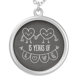 15th Anniversary Gift Chalk Hearts Silver Plated Necklace