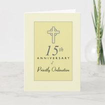 15th Anniversary of Priest with Embossed Cross, Re Card