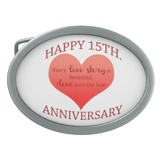 15th. Anniversary Oval Belt Buckle