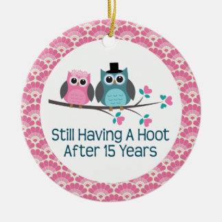 15th Anniversary Owl Wedding Anniversaries Gift Ceramic Ornament