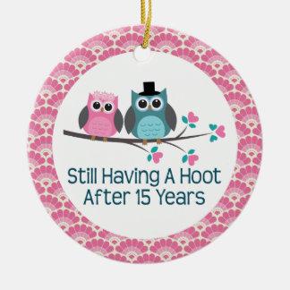 15th Anniversary Owl Wedding Anniversaries Gift Ornament