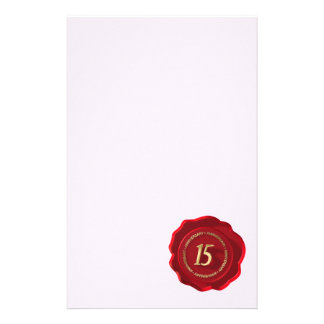15th anniversary red wax seal stationery