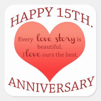 15th. Anniversary Square Sticker
