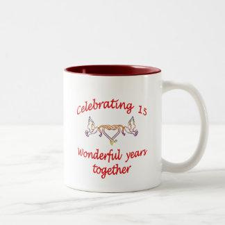 15th. ANNIVERSARY Two-Tone Coffee Mug