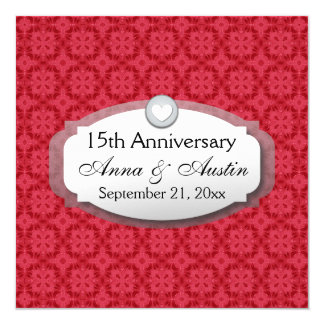 15th Anniversary Wedding Anniversary Red Z12 Card