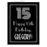 "[ Thumbnail: 15th Birthday — Art Deco Inspired Look ""15"" + Name Card ]"