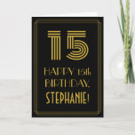 "[ Thumbnail: 15th Birthday: Art Deco Inspired Look ""15"" & Name Card ]"