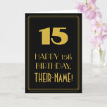 "[ Thumbnail: 15th Birthday – Art Deco Inspired Look ""15"" & Name Card ]"