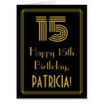 "[ Thumbnail: 15th Birthday: Art Deco Inspired Look ""15"" + Name Card ]"
