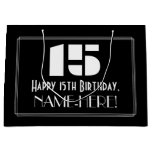 "[ Thumbnail: 15th Birthday ~ Art Deco Inspired Look ""15"" + Name Gift Bag ]"