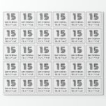"""[ Thumbnail: 15th Birthday: Art Deco Inspired Style """"15"""" + Name Wrapping Paper ]"""