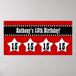 15th Birthday Banner with Stars Custom Name V15S Poster