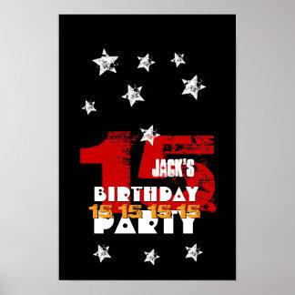 15th Birthday Black Red White Stars K03Z Poster