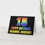 [ Thumbnail: 15th Birthday: Bold, Fun, Simple, Rainbow 15 Card ]