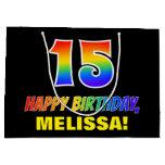 [ Thumbnail: 15th Birthday: Bold, Fun, Simple, Rainbow 15 Gift Bag ]