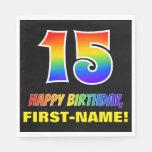 [ Thumbnail: 15th Birthday: Bold, Fun, Simple, Rainbow 15 Napkins ]