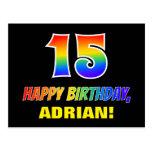 [ Thumbnail: 15th Birthday: Bold, Fun, Simple, Rainbow 15 Postcard ]