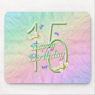 15th Birthday Butterfly Garden Mousepad