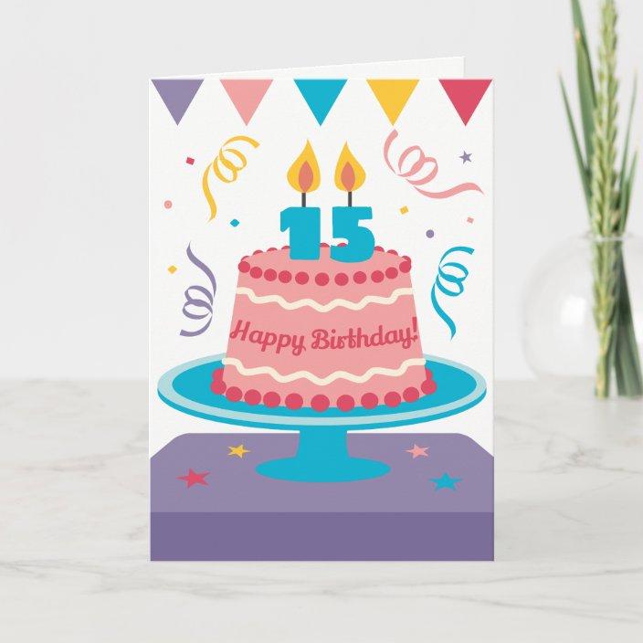 Cool 15Th Birthday Cake Card Zazzle Com Funny Birthday Cards Online Inifofree Goldxyz