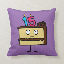 15th Birthday Cake with Candles Throw Pillow
