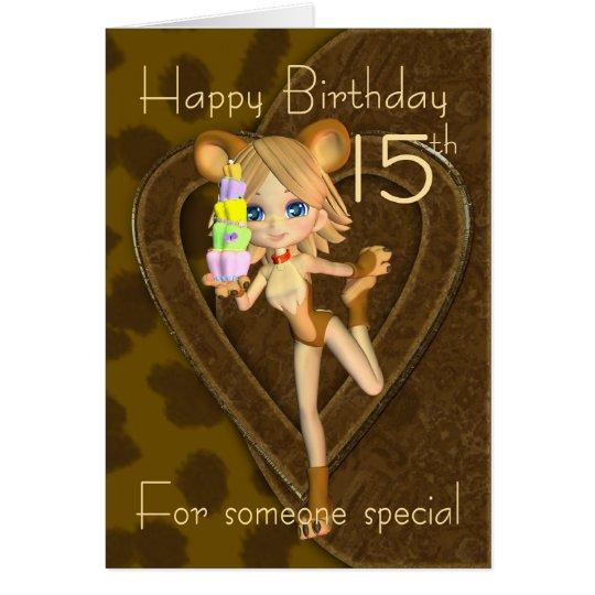 15th Birthday card, Cutie Pie Animal Collection Card