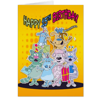 15th Birthday Card - Moonies Doodlematoons