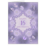 15th birthday card with lavender flowers