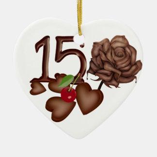 15th birthday Chocolate rose and hearts design Ceramic Ornament