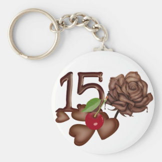 15th birthday Chocolate rose and hearts design Basic Round Button Keychain