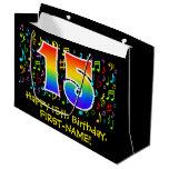 [ Thumbnail: 15th Birthday - Colorful Music Symbols, Rainbow 15 Gift Bag ]