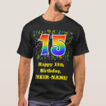 [ Thumbnail: 15th Birthday: Colorful Music Symbols, Rainbow 15 T-Shirt ]