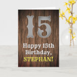 [ Thumbnail: 15th Birthday: Country Western Inspired Look, Name Card ]